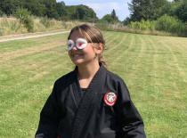 Træning med bind for øjnene...