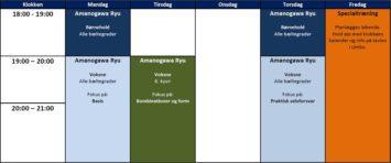 Amanogawa Ryu træningstider